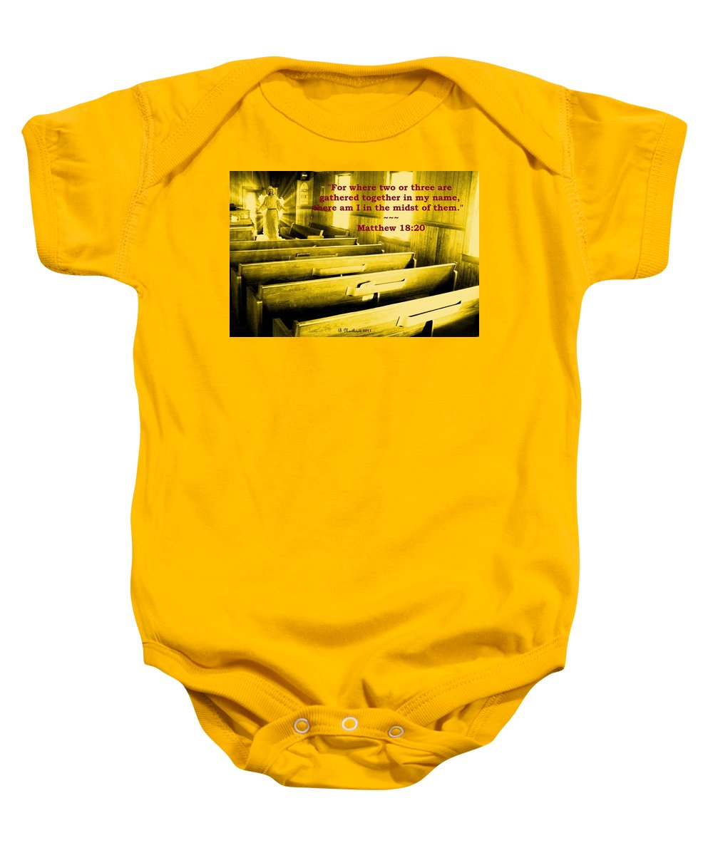 Church Baby Onesie featuring the photograph Where Two Or Three Are Gathered by Betty Northcutt