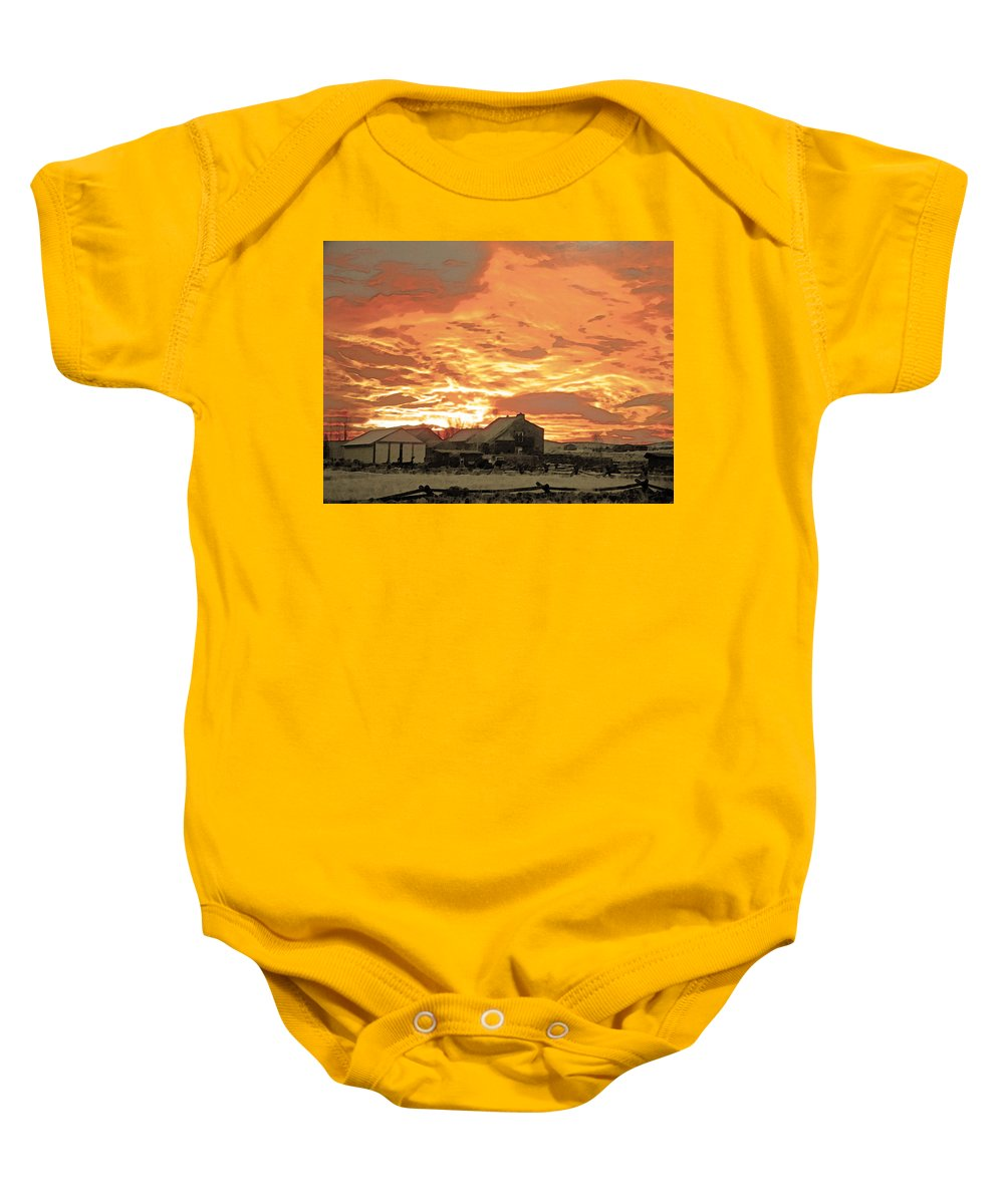 Abstract Baby Onesie featuring the photograph Wyoming Sunrise 1 by Lenore Senior