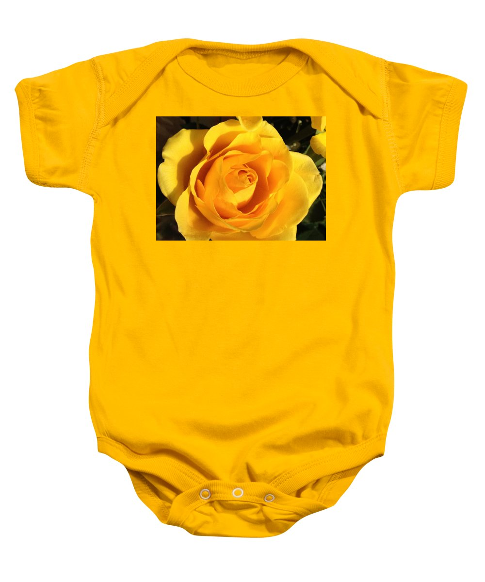 Rose Baby Onesie featuring the photograph Yellow Rose by Debbie Levene