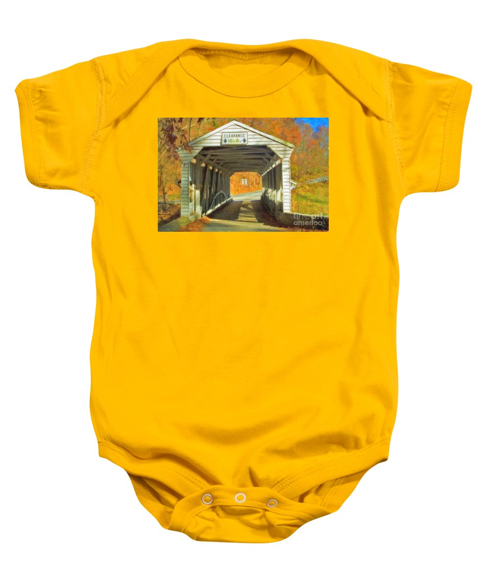 Covered Bridge Revolutionary Civil War Watercolor Photographs Baby Onesie featuring the photograph Covered Bridge Watercolor by David Zanzinger