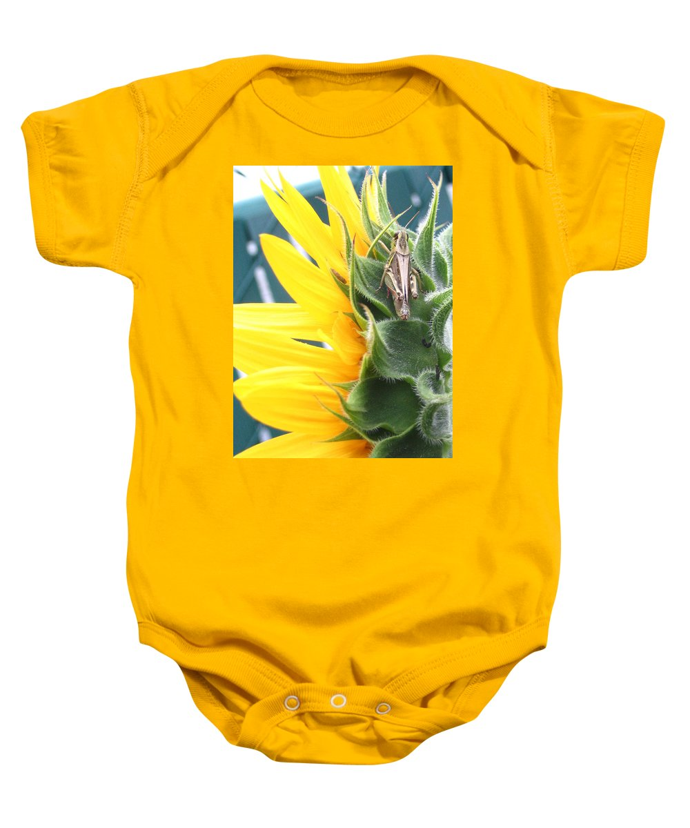 Sunflower Baby Onesie featuring the photograph ... Small Break by Line Gagne
