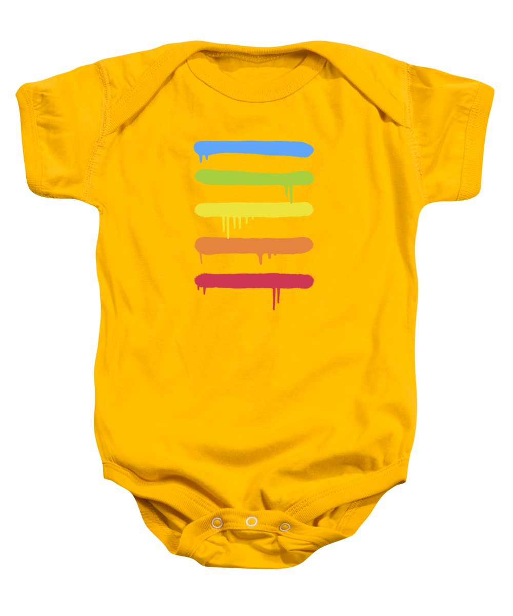 Rainbow Baby Onesie featuring the digital art Trendy Cool Graffiti Tag Lines by Philipp Rietz