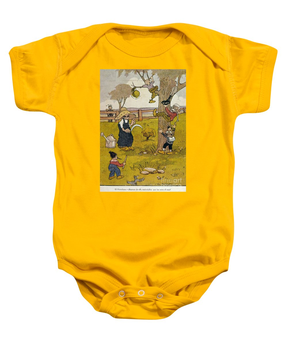 1913 Baby Onesie featuring the painting Mexico: Political Cartoon by Granger