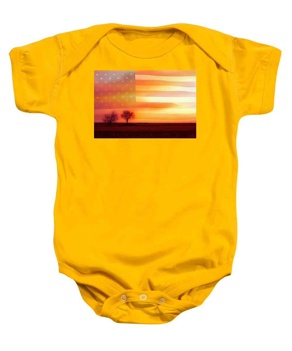 Flags Baby Onesie featuring the photograph America The Beautiful by James BO Insogna