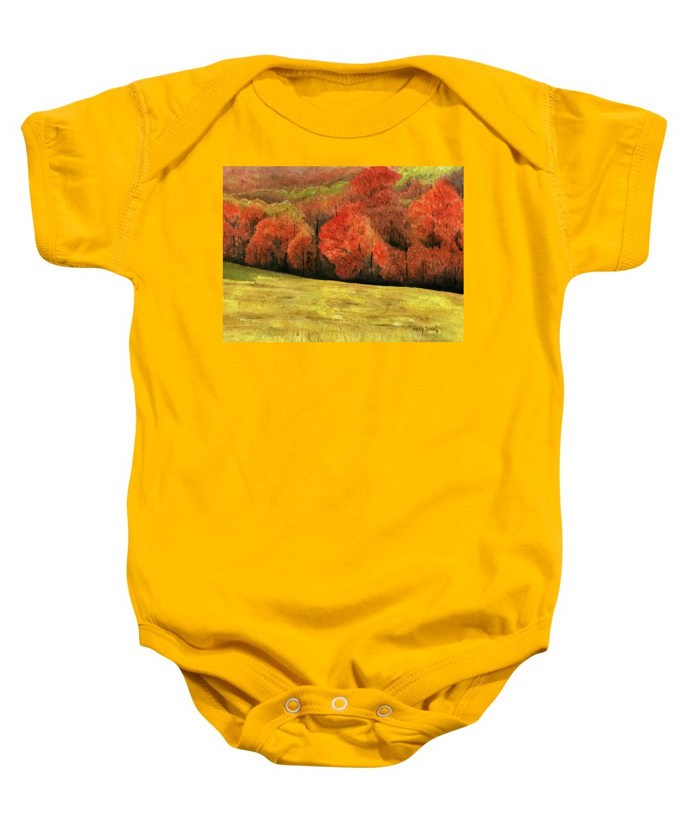 Autumn Baby Onesie featuring the painting Autumn Splendor by Mary Tuomi
