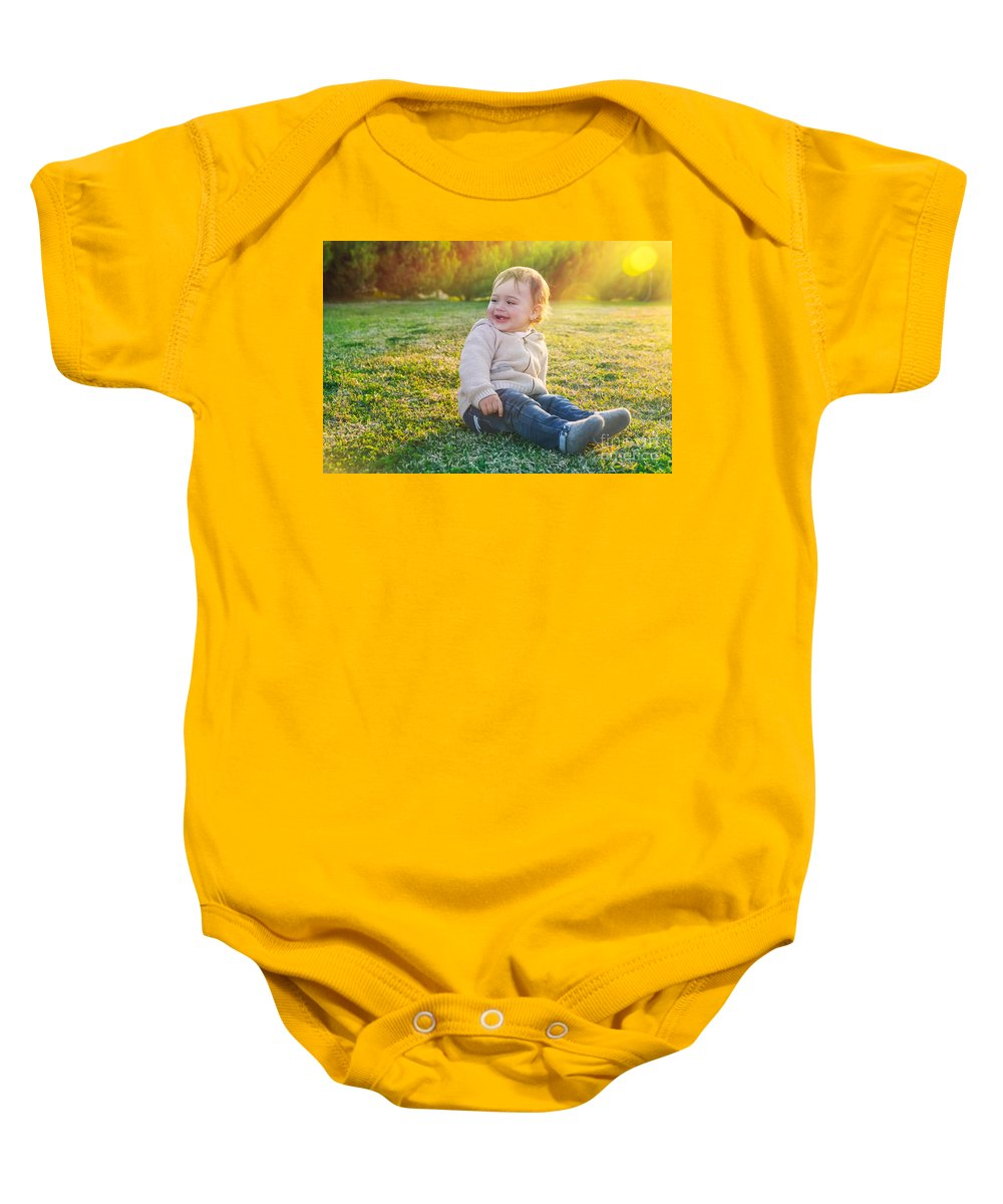 Adorable Baby Onesie featuring the photograph Cute Baby Boy Outdoors by Anna Om