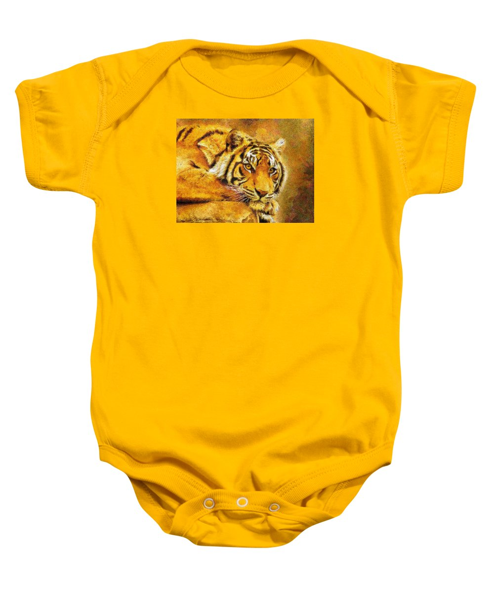 Tiger Baby Onesie featuring the digital art Eye Of The Tiger by Georgiana Romanovna
