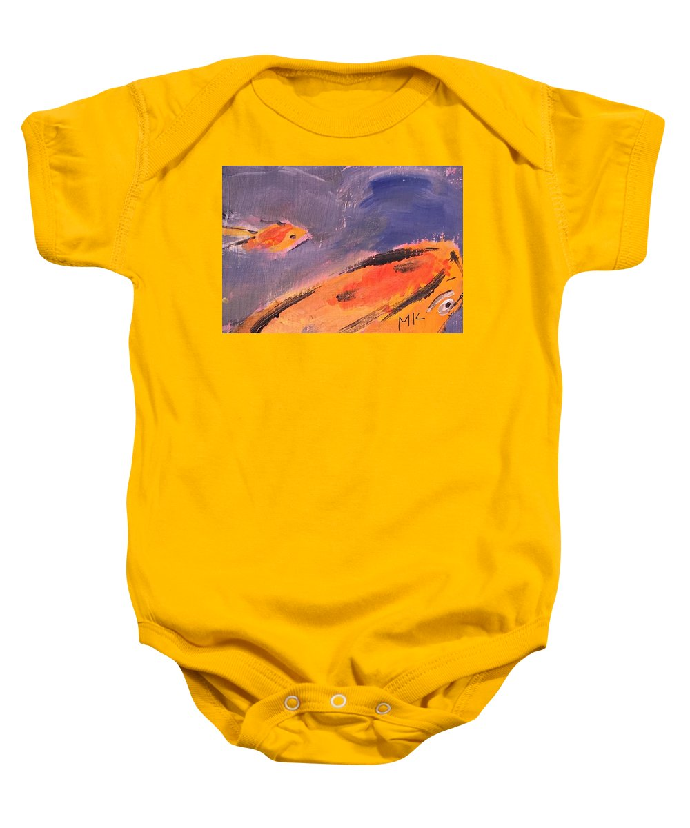 Fish Water Baby Onesie featuring the painting Fish by Mary Jo Hopton