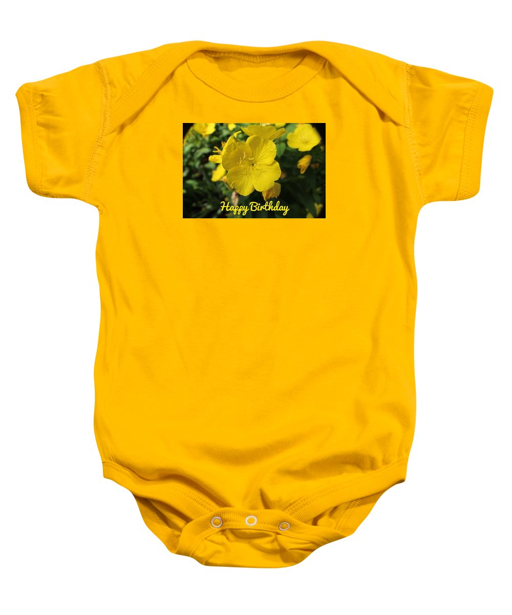Happy Birthday. Yellow Baby Onesie featuring the photograph Happy Birthday by Beth Tidd