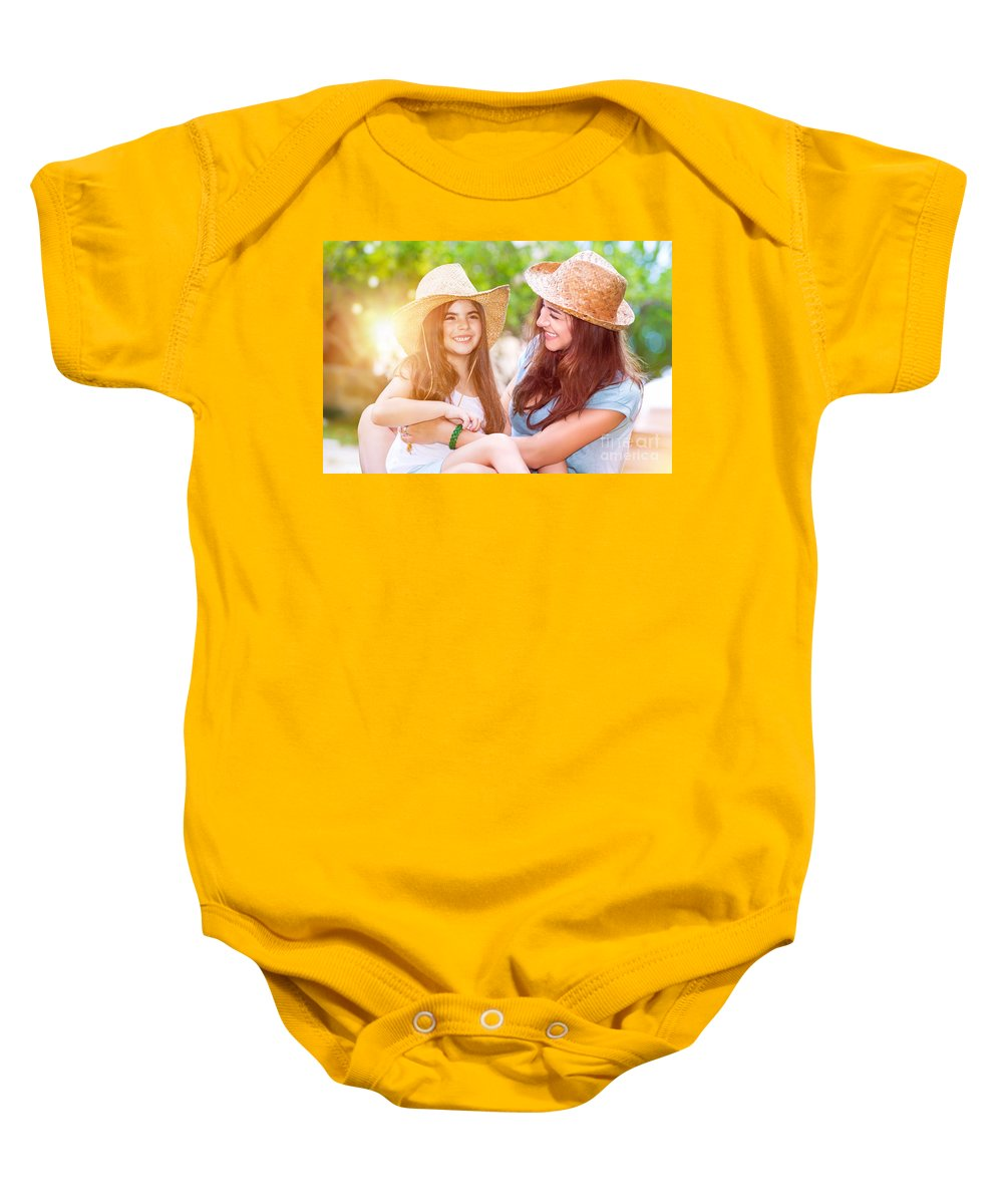 Baby Baby Onesie featuring the photograph Happy Mother And Daughter by Anna Om