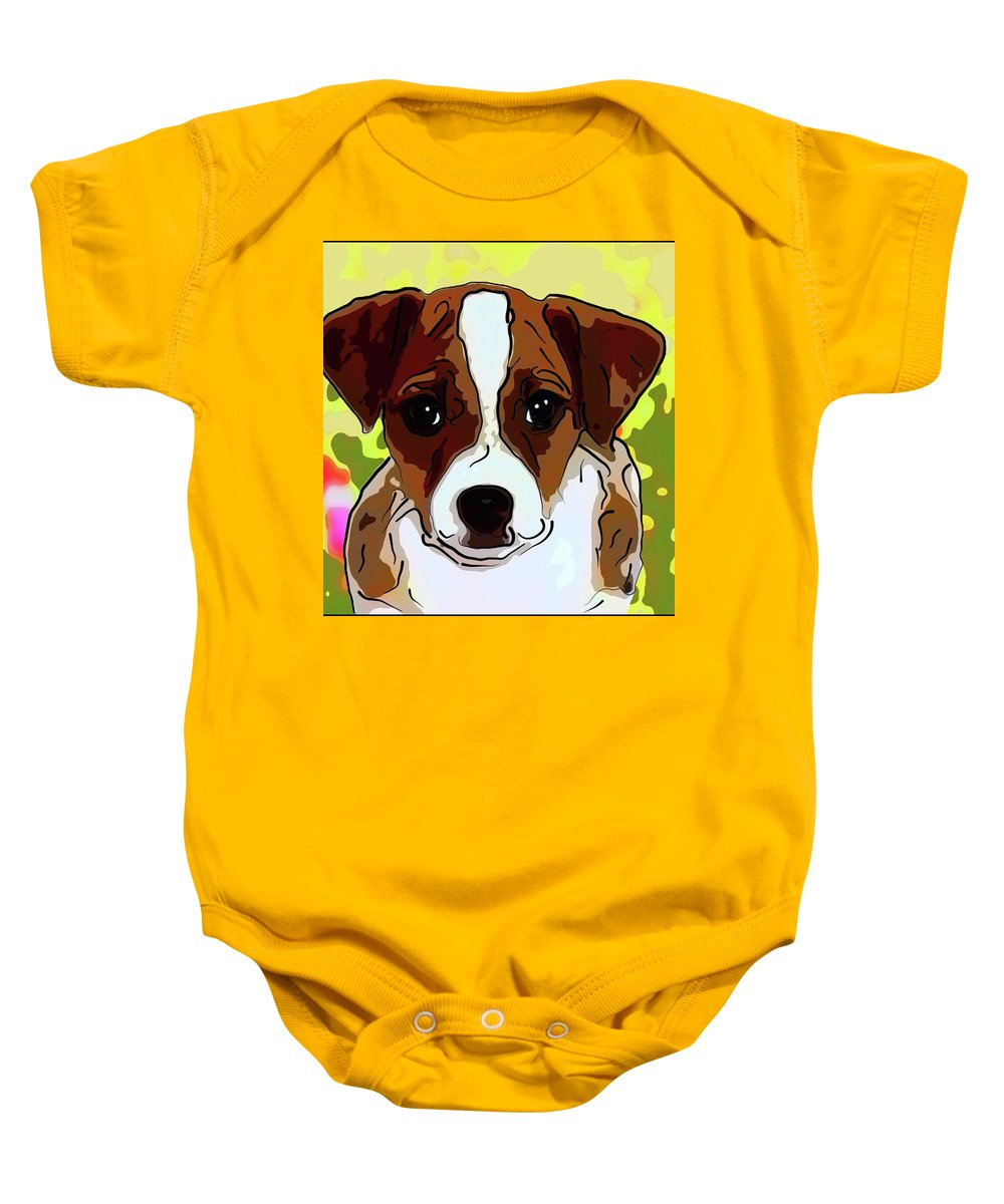 Jack-russell-terrier Baby Onesie featuring the painting Jack Russell Terrier by Alexey Bazhan
