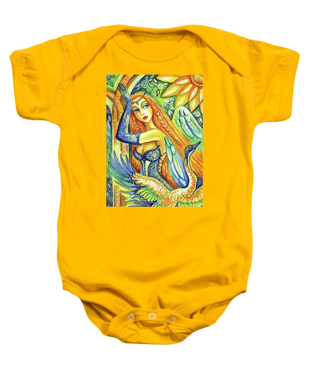 Bird Fairy Baby Onesie featuring the painting Fairy Leda And The Swan by Eva Campbell