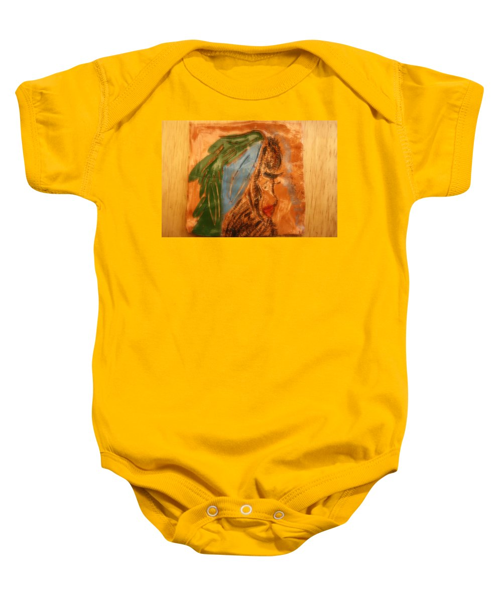 Jesus Baby Onesie featuring the ceramic art Longing - Tile by Gloria Ssali