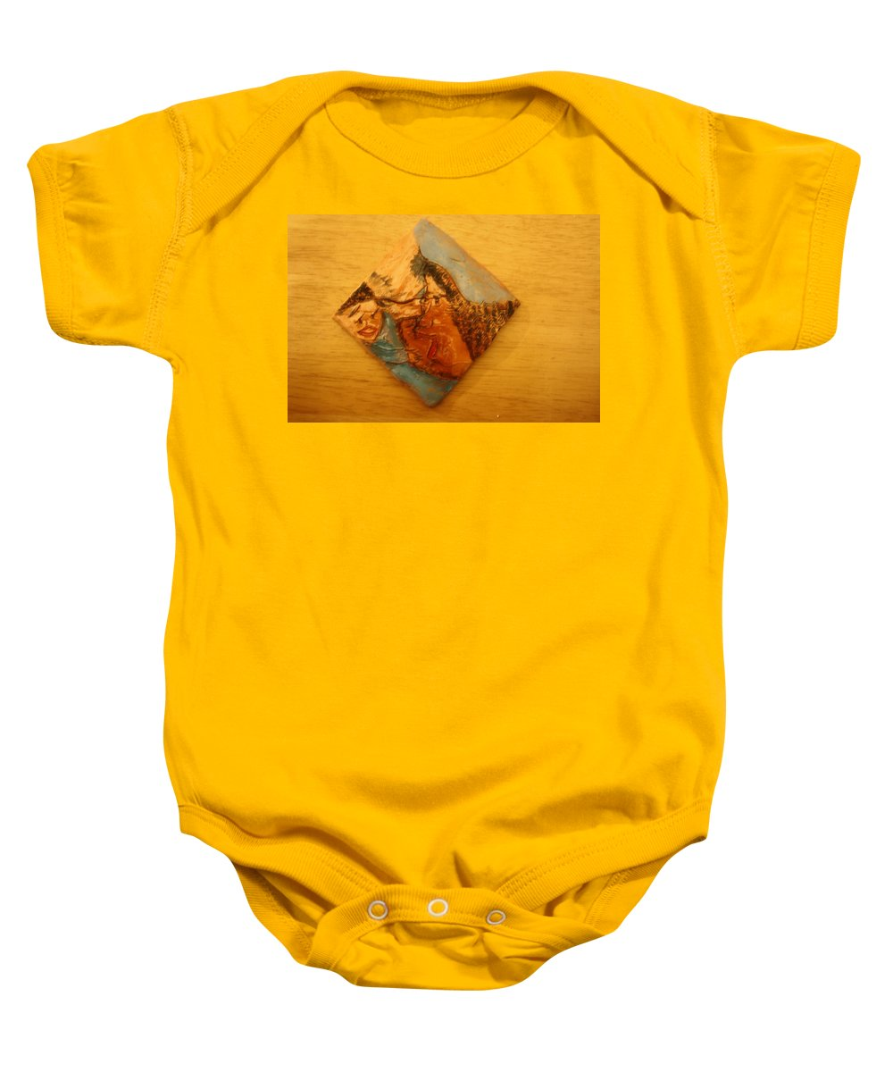 Jesus Baby Onesie featuring the ceramic art Morning - Tile by Gloria Ssali