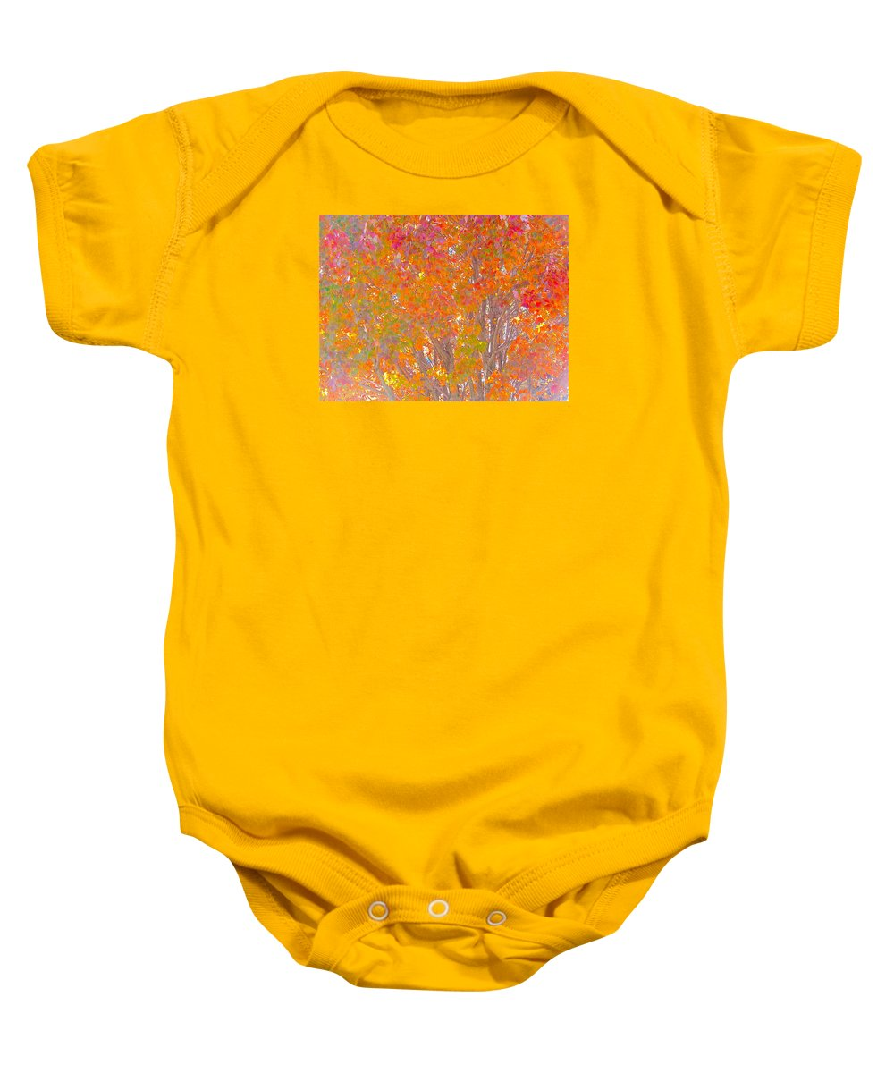 Orange Baby Onesie featuring the photograph Orange And Red Autumn by Wendy Yee