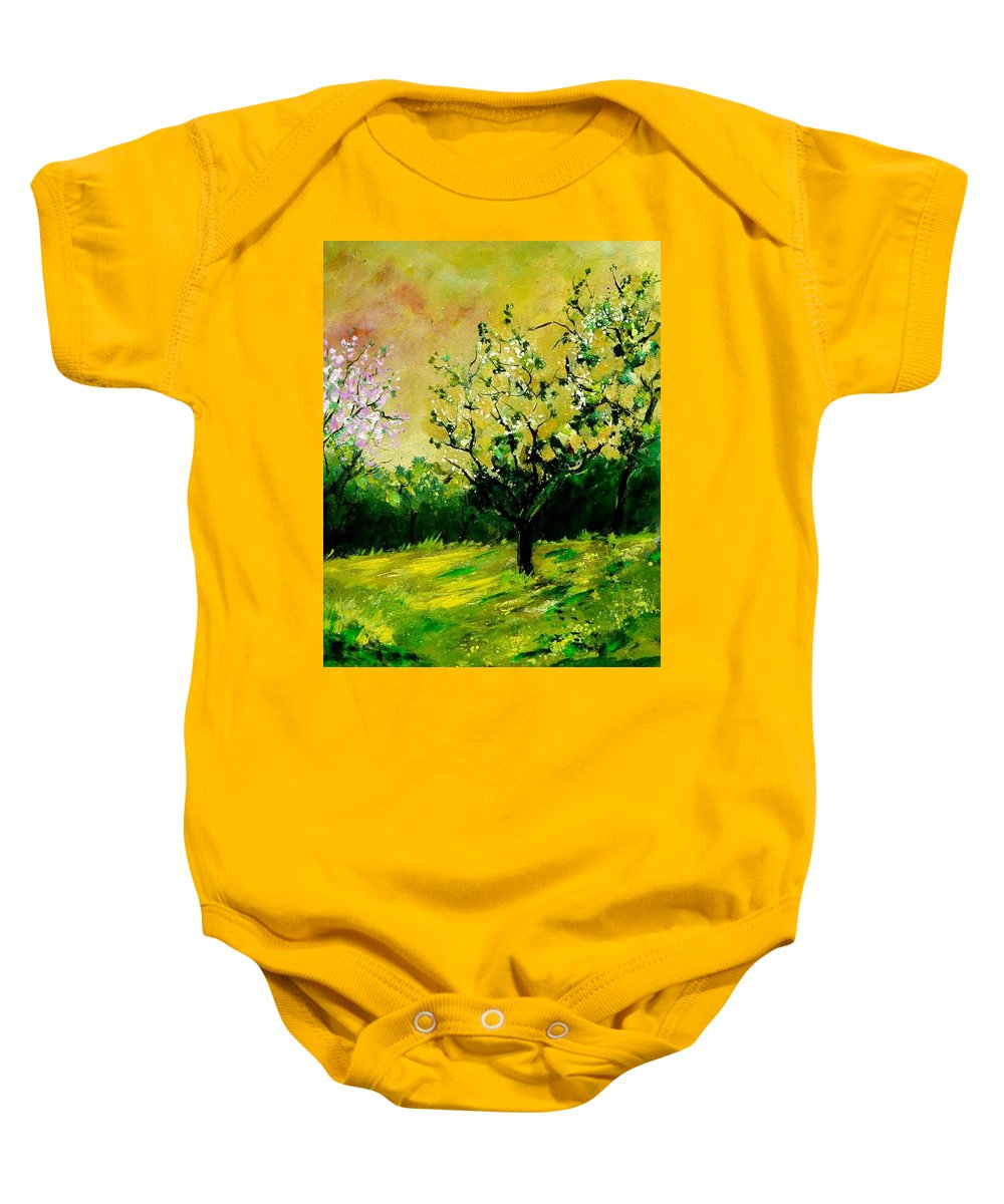 Landscape Baby Onesie featuring the painting Orchard by Pol Ledent