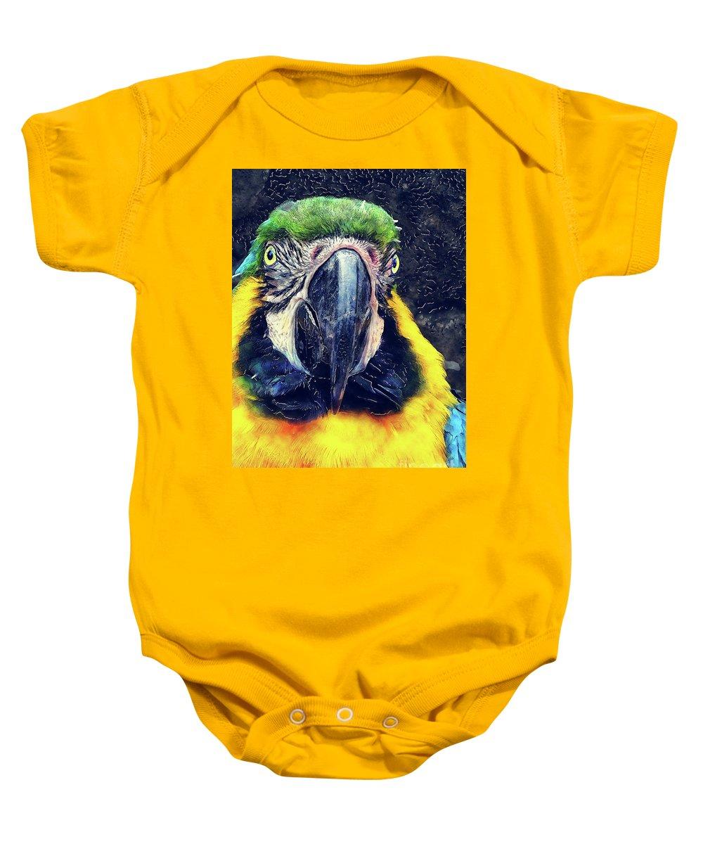Ara Baby Onesie featuring the digital art Parrot Art by Justyna JBJart