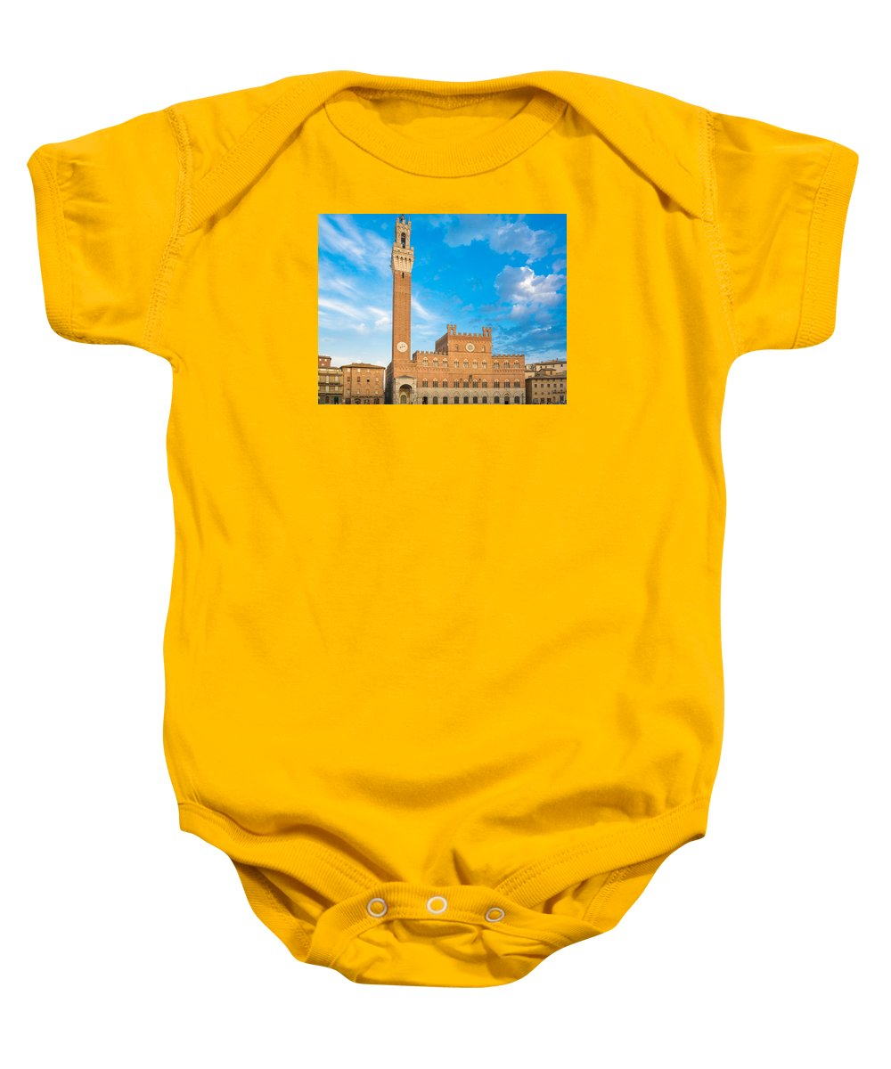 Ancient Baby Onesie featuring the photograph Public Palace With The Torre Del Mangia In Siena, Tuscany by Fabio Migliorucci