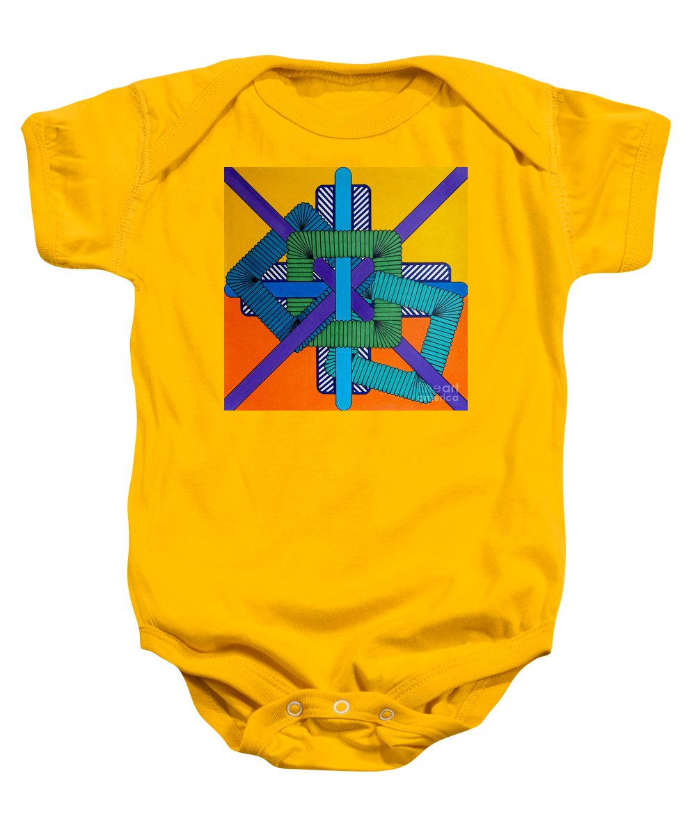 Orange & Yellow Abstract Baby Onesie featuring the drawing Rfb0600 by Robert F Battles