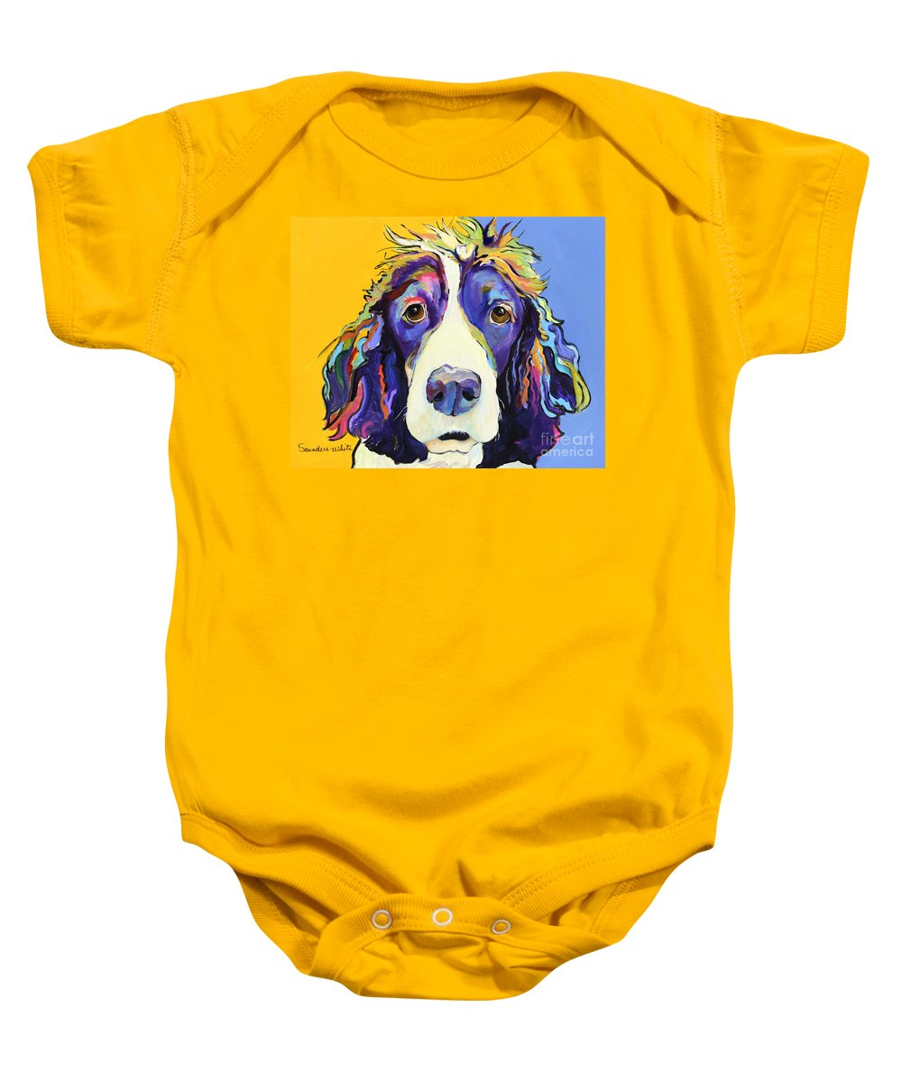 Blue Baby Onesie featuring the painting Sadie by Pat Saunders-White