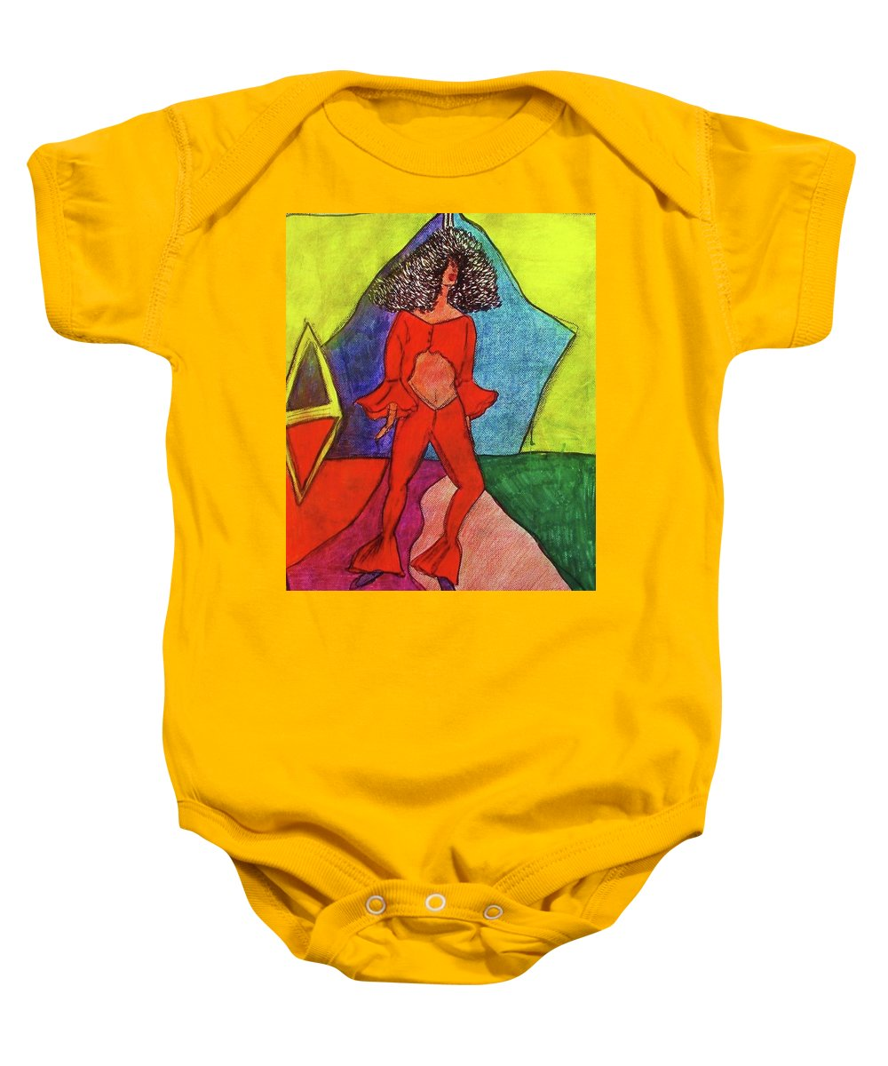 Nine Walk Baby Onesie featuring the painting Shes Walk by Nila Poduschco