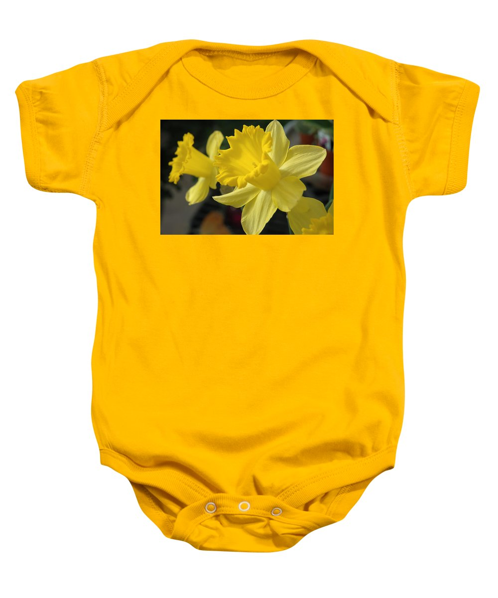 Daffodil Baby Onesie featuring the photograph Spring Yellow by Jerry McElroy
