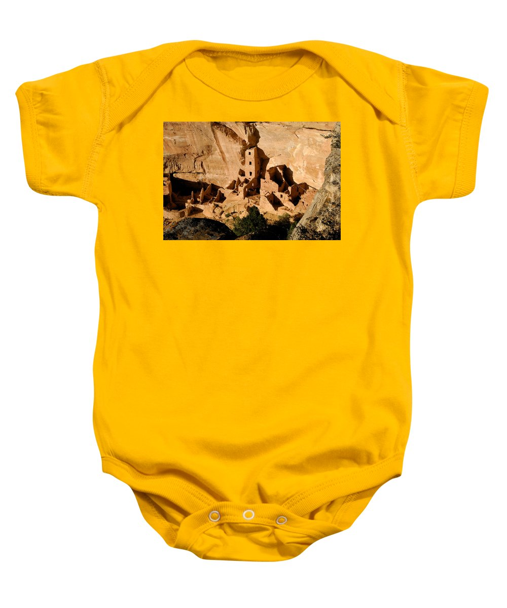 Square Tower Ruin Baby Onesie featuring the painting Square Tower Ruin by David Lee Thompson