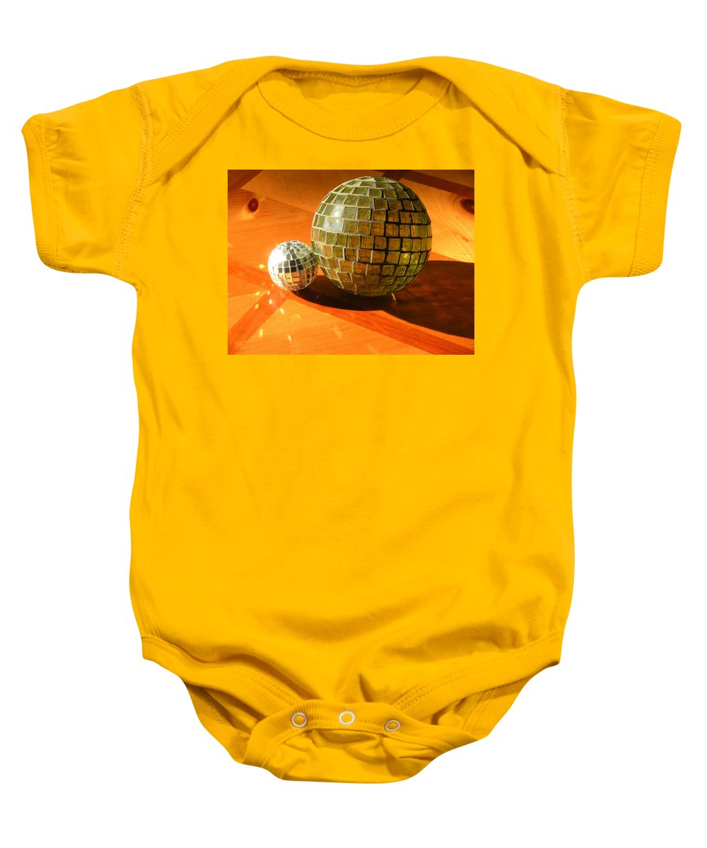 Baby Onesie featuring the photograph Sunlit Spheres by Maria Bonnier-Perez