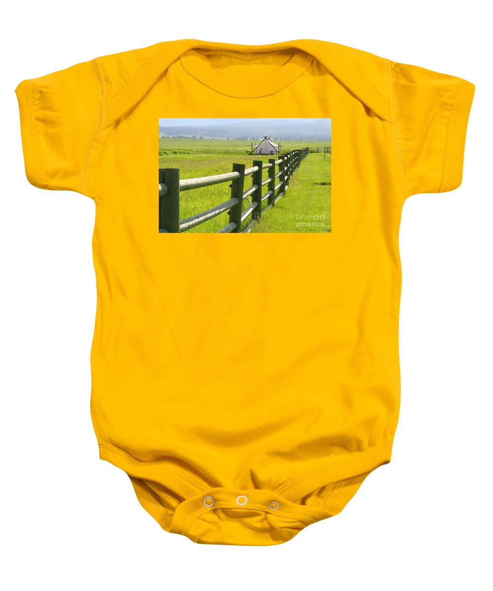 Canvas Baby Onesie featuring the photograph Tent Living Montana by Diane Greco-Lesser