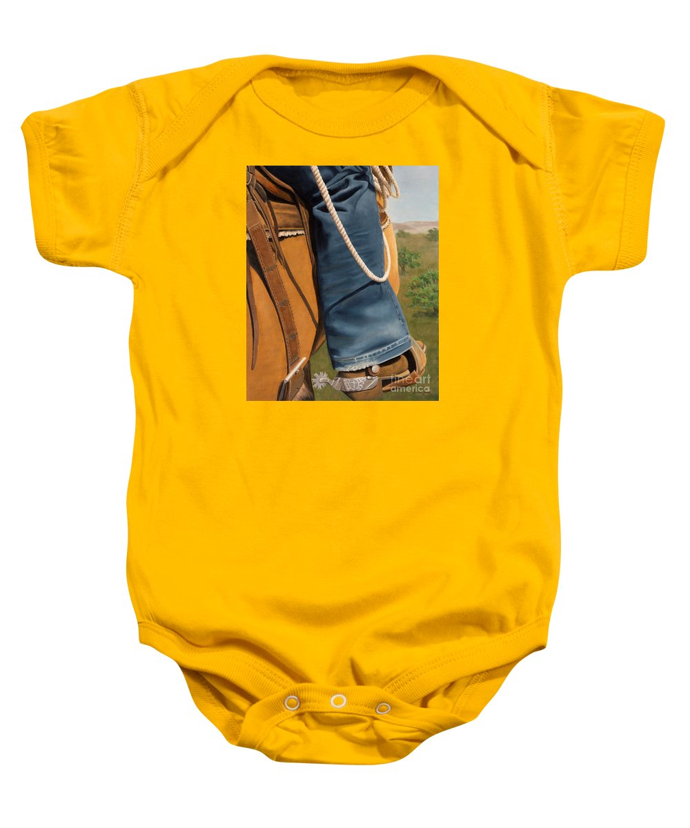 Saddle Baby Onesie featuring the painting The Journey by Susan Jump