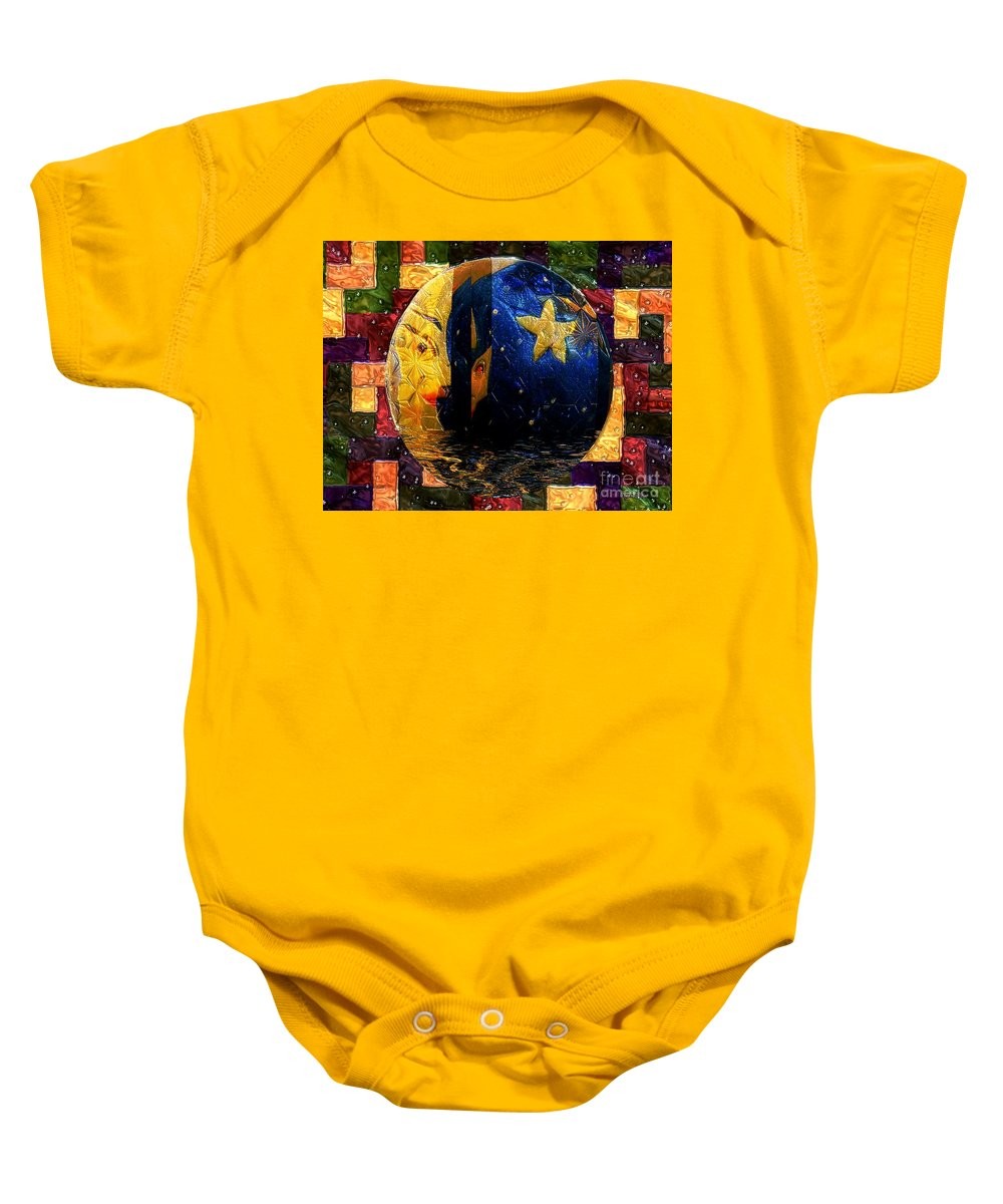 Moon Baby Onesie featuring the painting The Moon Has A Bath by RC DeWinter