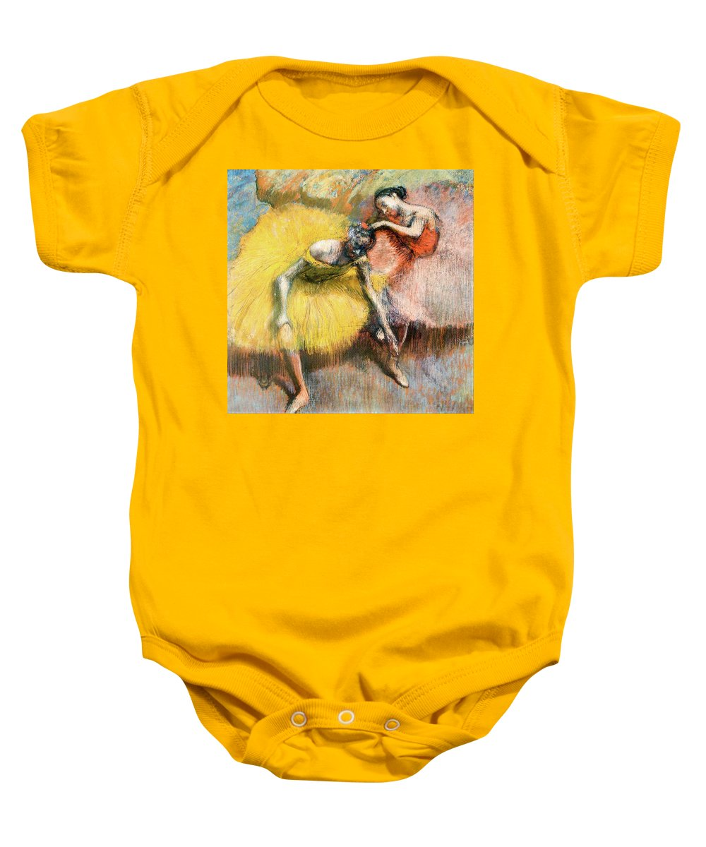 Dancers Baby Onesie featuring the painting Two Dancers In Yellow And Pink by Edgar Degas