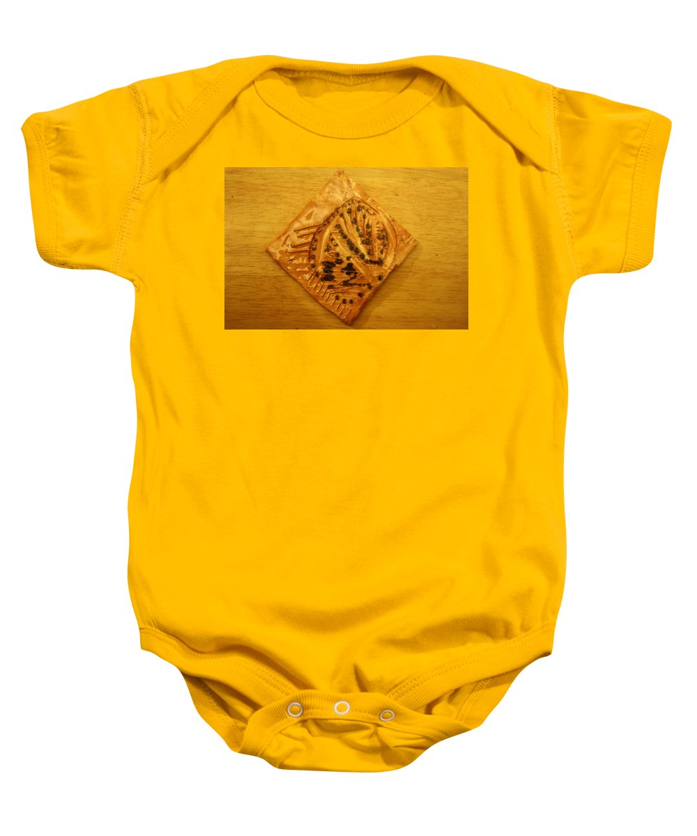 Jesus Baby Onesie featuring the ceramic art Visions - Tile by Gloria Ssali