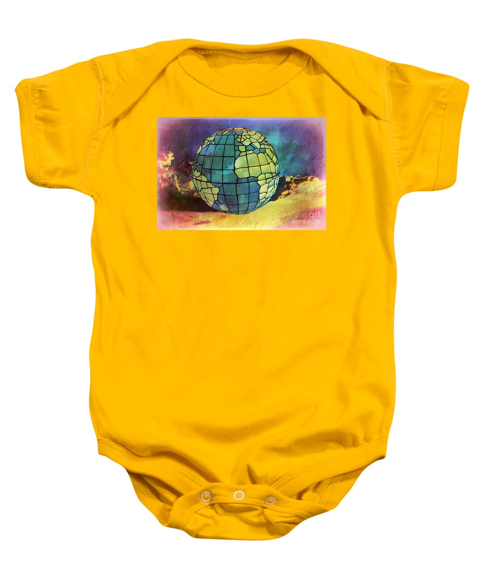 World Baby Onesie featuring the digital art World Displayed by Gina Geldbach-Hall