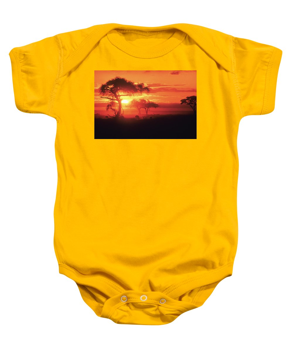 Africa Baby Onesie featuring the photograph African Sunrise by Michele Burgess