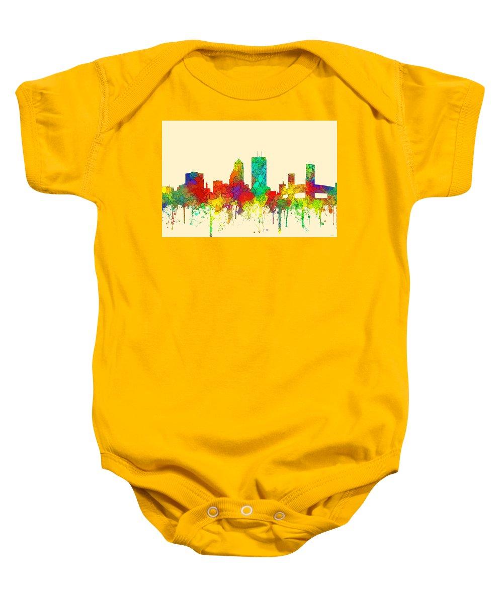Jacksonville Florida Skyline Baby Onesie featuring the digital art Jacksonville Florida Skyline by Marlene Watson