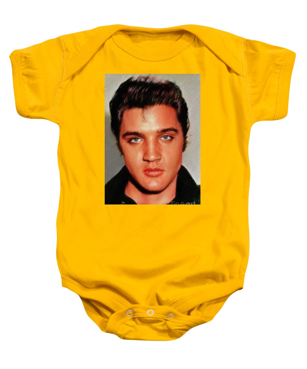 Music Baby Onesie featuring the painting Elvis Presley, Rock And Roll Legend by Mary Bassett