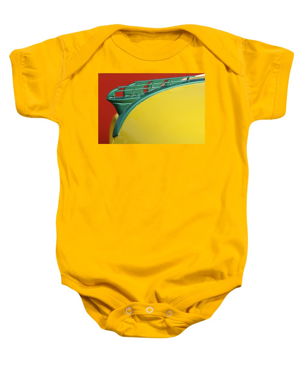 1950 Plymouth Baby Onesie featuring the photograph 1950 Plymouth Hood Ornament 2 by Jill Reger