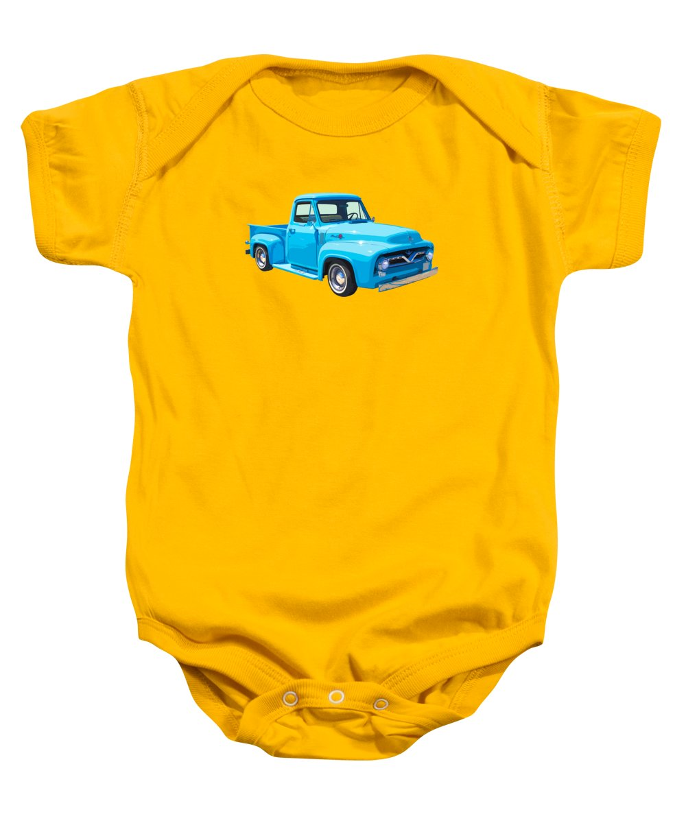 Ford F100 Truck Baby Onesie featuring the photograph 1955 Ford F100 Blue Pickup Truck Canvas by Keith Webber Jr