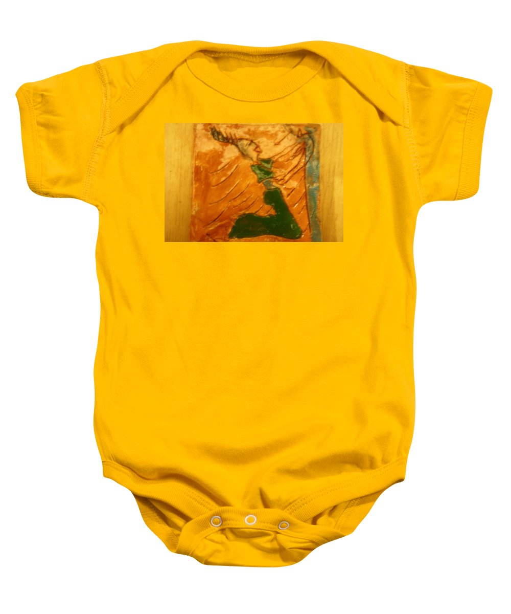Jesus Baby Onesie featuring the ceramic art Mums Gal - Tile by Gloria Ssali