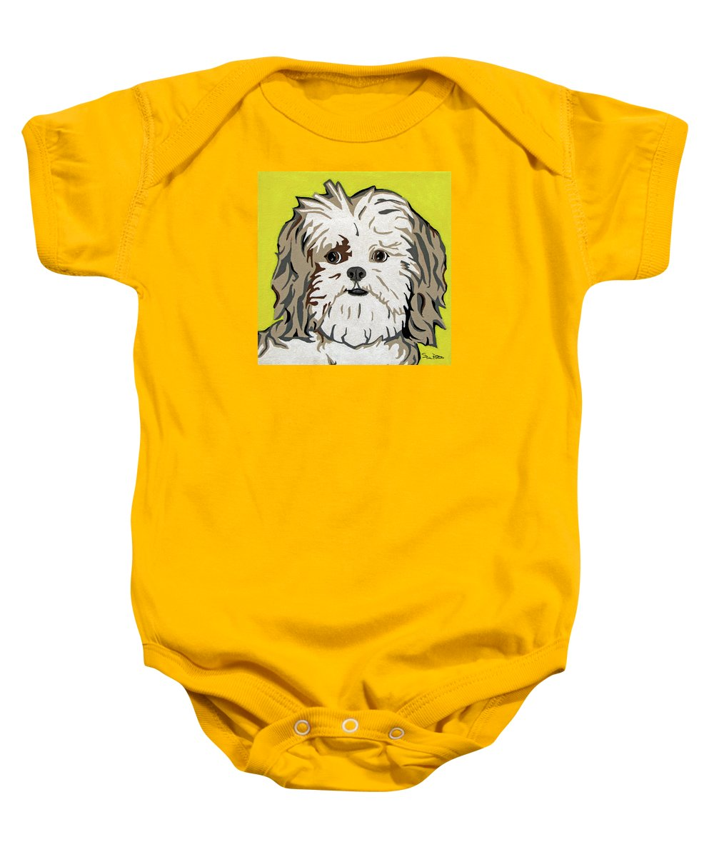 Shih Tzu Baby Onesie featuring the painting Shih Tzu by Slade Roberts