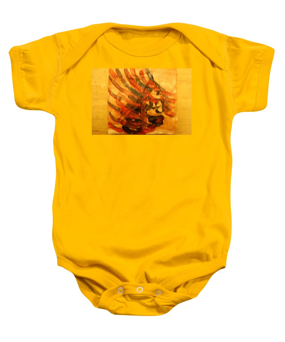 Jesus Baby Onesie featuring the ceramic art Strength - Tile by Gloria Ssali