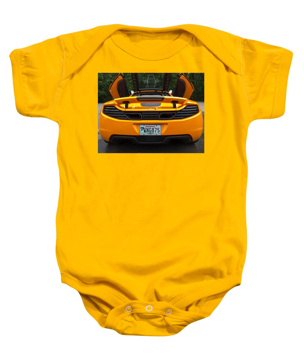 2012 Baby Onesie featuring the photograph 2012 Mc Laren Exhausts And Taillights by Robert Kinser