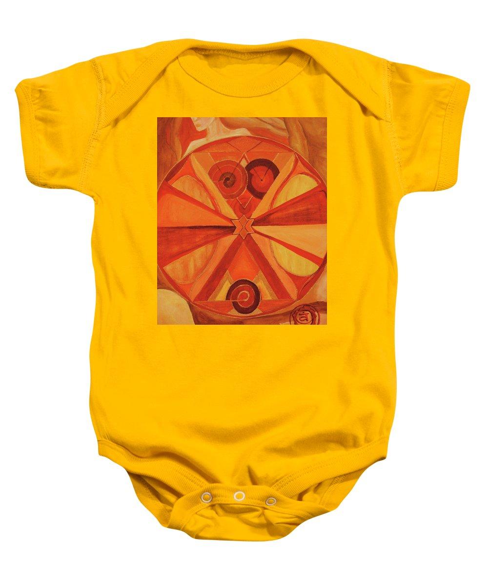 Mandala Baby Onesie featuring the painting 2nd Mandala - Sacral Chakra by Jennifer Christenson