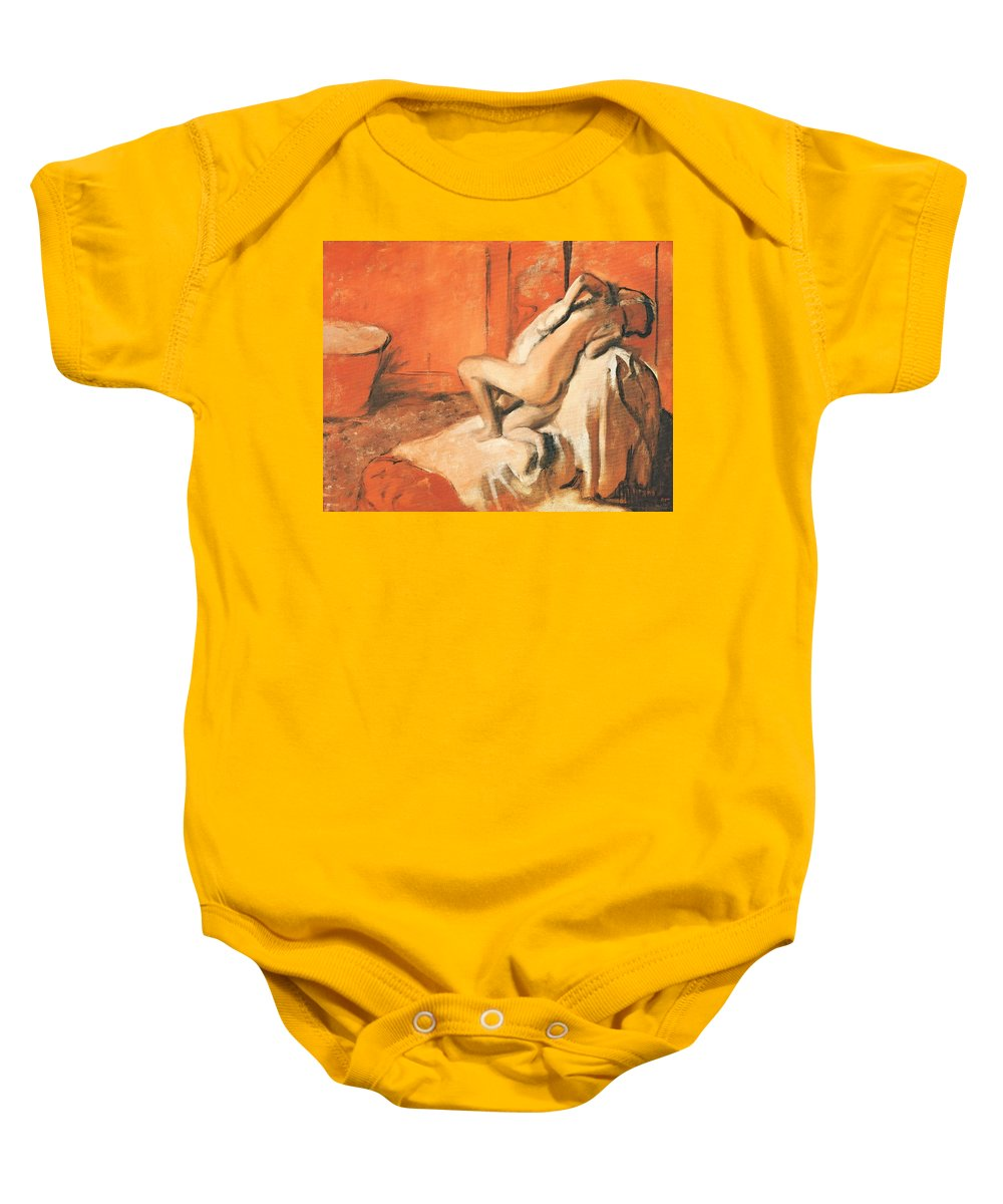 After The Bath Baby Onesie featuring the pastel After The Bath by Edgar Degas