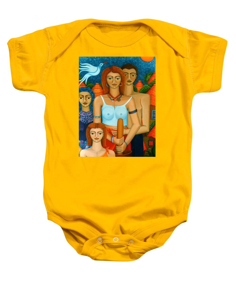 Ages Baby Onesie featuring the painting 3 Ages Of A Woman And A Man by Madalena Lobao-Tello