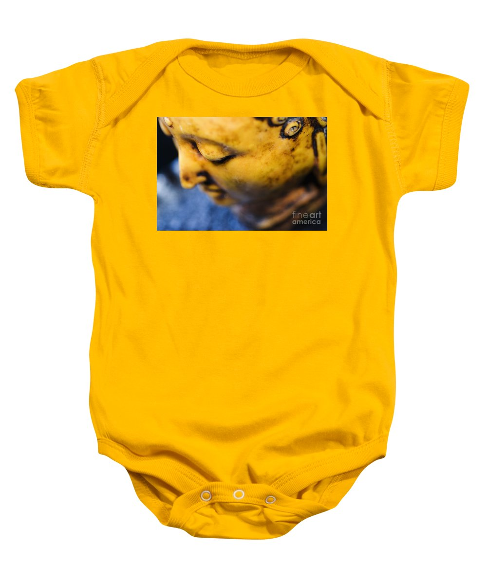 Adorn Baby Onesie featuring the photograph Buddha Sculpture by Ray Laskowitz - Printscapes