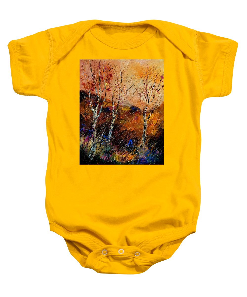 River Baby Onesie featuring the painting 3 Poplars by Pol Ledent