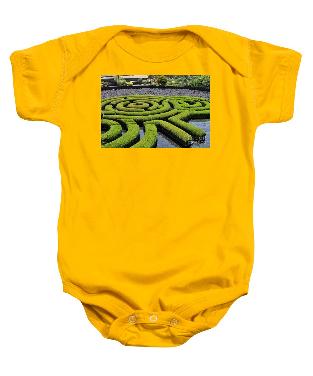 Clay Baby Onesie featuring the photograph The Getty by Clayton Bruster