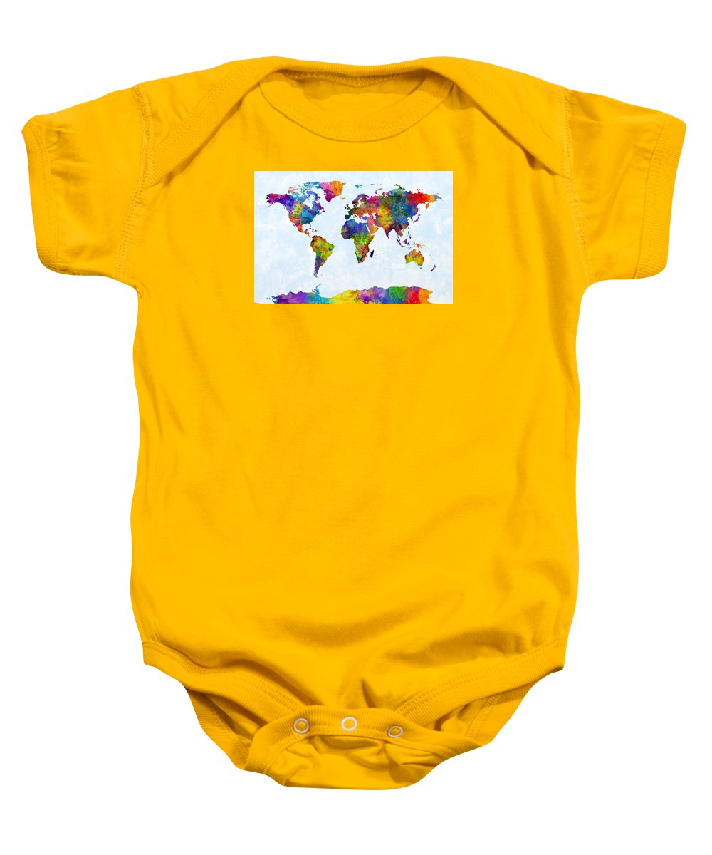World Map Baby Onesie featuring the digital art Watercolor Map Of The World Map by Michael Tompsett